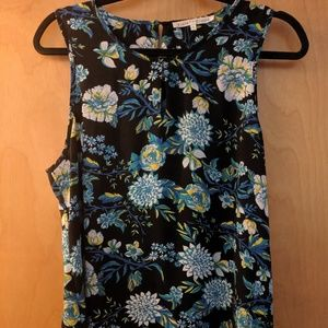 Blue and Black Floral Sleeveless Blouse